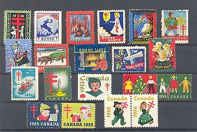 Bengphil Canada Lot of 20 diff. Christmas Seals 1938 to 1956