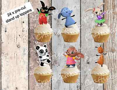 Bing 24 Pre Cut Stand Up Cup cake Wafer Paper Toppers