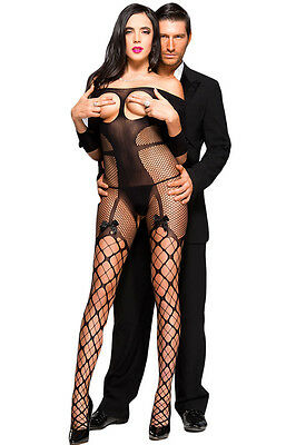 BLACK SEDUCTIVE Bodysuit BNWT Tights Catsuit Bodystocking Lingerie Fishnet BOW
