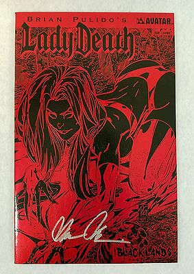 Lady Death Blacklands #1 Black & Red Leather Edition Signed 2006