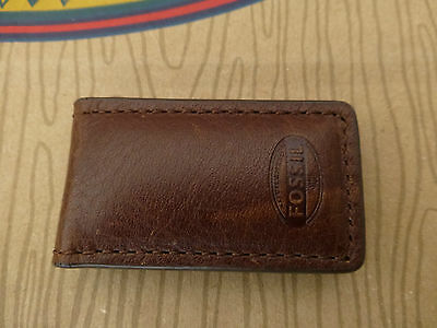 FOSSIL Money Clip ESTATE Brown Leather Compact MAGNETIC Cash Holder Clips