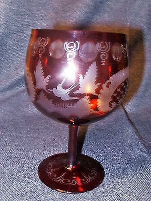 Egermann Ruby Red Etched Bohemian Blackforest Deer Stag Lead Crystal Goblet EUC