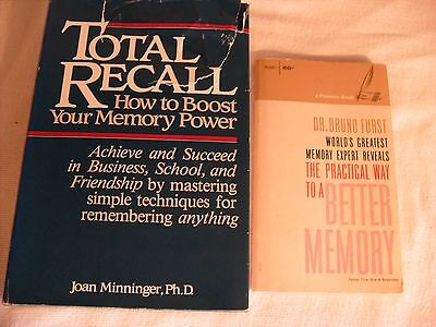 Total Recall How to Boost Your Memory Power Better Memory Book Lot 2pc
