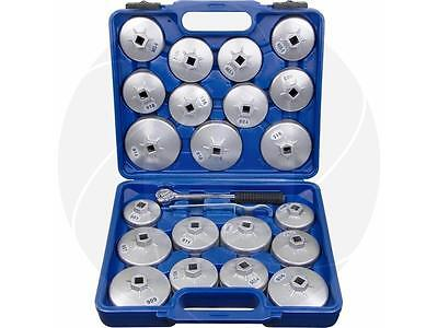 23pcs Car Universal Aluminum Oil Filter Cap Set with Ratchet Wrench Storage Case