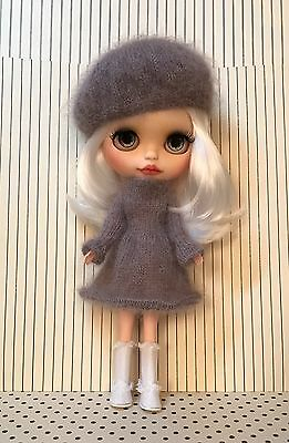 Blythe Doll Outfit-Handmade Knitted Dress And Hat Set - Rowan 100% Mohair Wool