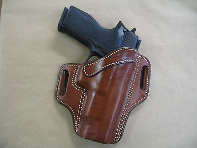 Sig Sauer P 226, 220 OWB Leather 2 Slot Molded Pancake Belt Holster CCW TAN RH