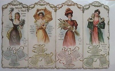 """Stunning Vintage 1900 Calendar w/ """"Belles of the Year"""" w/ 4 Gorgeous Woman  *"""