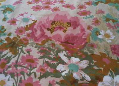 Vintage 60s Drapery Fabric Pink Yellow Peonies Barkcloth Era 5 Yards