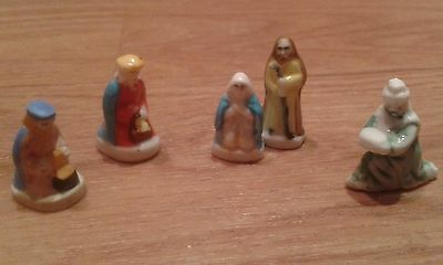 Vintage French Feves, Porcelain Hand Painted Miniature Figures. Nativity Figures