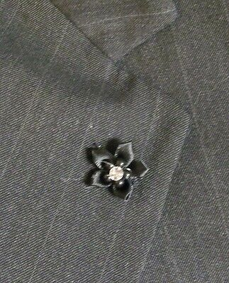 Men's Small Lapel Pin Flower - Black with Bead and Crystal Center