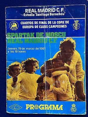 Programme Real Madrid Spartak Moscow European Cup 1980 1981 Very Rare!!!!