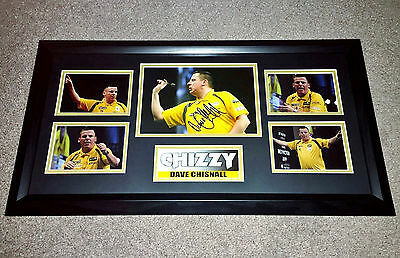 DAVE CHISNALL CHIZZY DARTS HAND SIGNED FRAMED PHOTO AUTHENTIC GENUINE COA 26x14