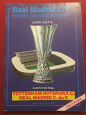 Programme Official Real Madrid Tottenham Hotspur Uefa Cup 1984 1985