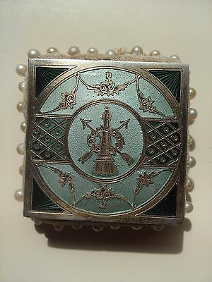 Antique French Guilloche Enamel Sterling Silver Gilt Pin Cushion Hallmarks