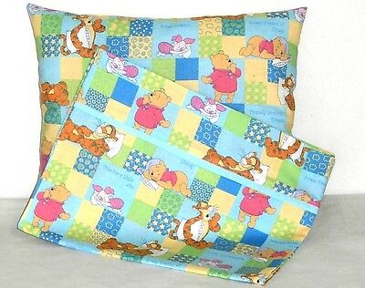 Pooh Toddler Pillow and Pillowcase multi-color squares Cotton 20-13 New Handmade