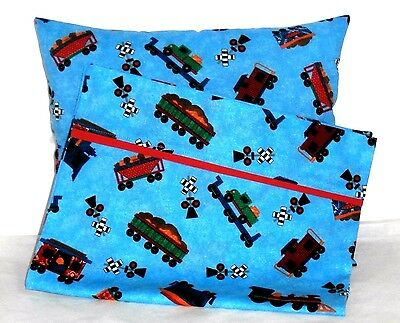 Trains Toddler Pillow and Pillowcase set on Blue Cotton T3-35 New Handmade