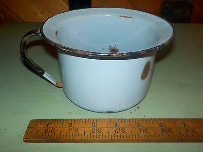 Vintage Blue Enamel Child's Chamber Pot w/ Black Trim! Rustic Decor!