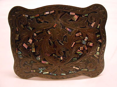Sterling Silver 925 Mexico Belt Buckle Floral Mop Inlay Gm-10 Mark