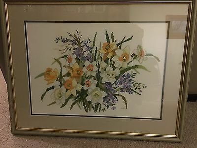 Framed Cross Stitch Embroidery