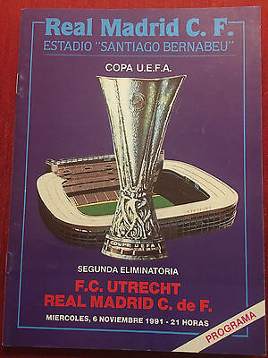 Programme Official Real Madrid Utrecht Uefa Cup 1991 1992