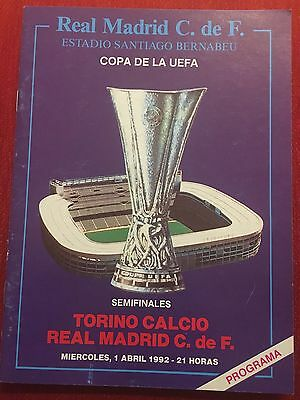 Programme Official Real Madrid Torino Uefa Cup 1991 1992
