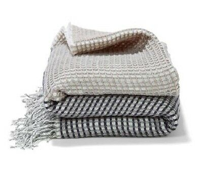 Waffle Throw Blanket Rug Natural Grey Couch Throw Rug Home Decor Throw BRAND NEW