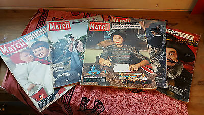 """Collection of 5 """"PARIS MATCH"""" Magazines - from the 50's"""