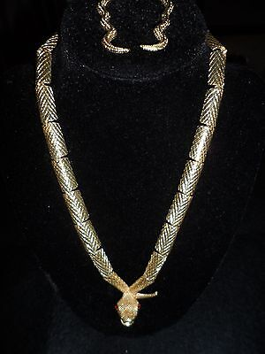 Vintage 3D Snake Set Necklace Earrings Statement Gold Tone Rhinestone Crystal