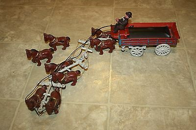 Vintage Cast Iron Horse Drawn Wagon Truck Jointed Driver, 8 Horse Team, Dog