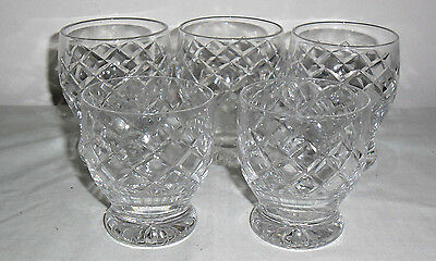 5 x DIAMOND CUT CRYSTAL OLD FASHIONED TUMBLERS two sizes