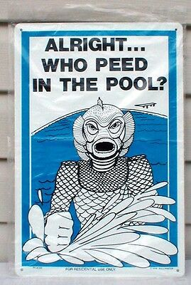 1979 CREATURE from the BLACK LAGOON Swimming Pool Sign - Very Rare