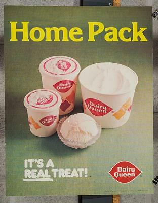 Vintage Dairy Queen Promotional Poster Home Pack Ice Cream 1980 dq2