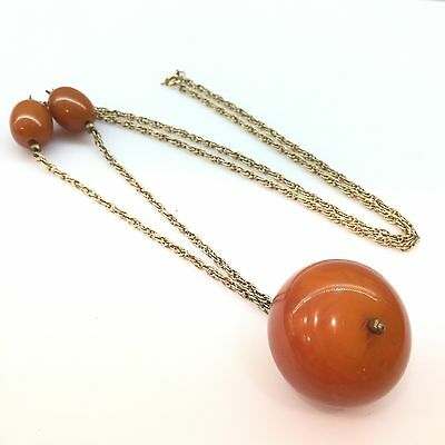 Vtg Gold Tone Chain Butterscotch Bakelite African Trade Beads Huge Necklace -44
