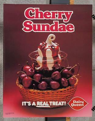 Vintage Dairy Queen Promotional Poster Cherry Sundae 1980 dq2