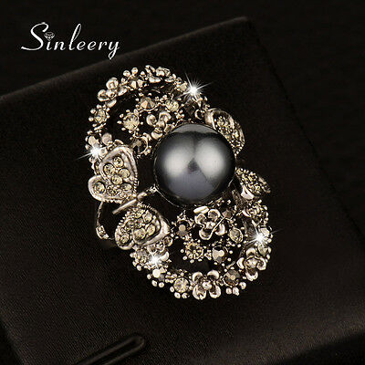 Luxury Crystal Butterfly Big Gray Pearl Hollow Rings For Women Vintage Jewelry