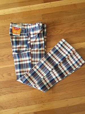 Vintage Levi STA-PREST Students Bell Bottom Jeans  27 x 29 Houndstooth Plaid NWT
