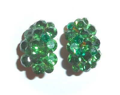 Vintage - Stunning Glass Emerald-Green Rhinestone Cluster Clip-On Earrings