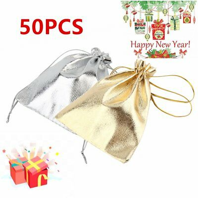50Pcs 10*12cm Golden/Silver Mini Bags Drawstring Rustic Wedding Favor Gift DX