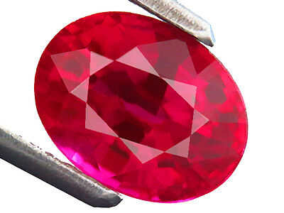 2.25ct Lab-created Natural Crown DOUBLET RUBY OVAL Fine Thai Cutting 6.3x8.2 MM