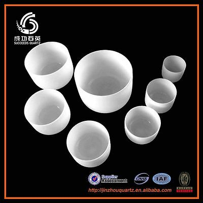 "432Hz Chakra Tuned Set of 7 Frosted Crystal Quartz Singing Bowl 8"" - 12"""