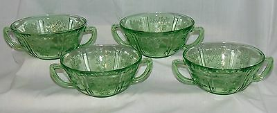 "4 Federal SHARON/CABBAGE ROSE GREEN *5"" CREAM SOUP BOWLS*"