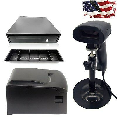 58mm POS Thermal Receipt Printer USB Laser Barcode Scanner Cash Drawer Combo,USA