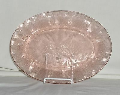 "Jeannette FLORAL/POINSETTIA PINK *10 3/4"" OVAL PLATTER*"