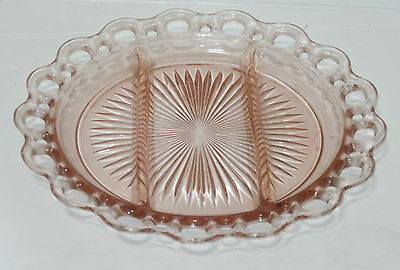 """Anchor Hocking LACE EDGE/OLD COLONY PINK *10 1/2"""" 3 part RELISH PLATE*"""