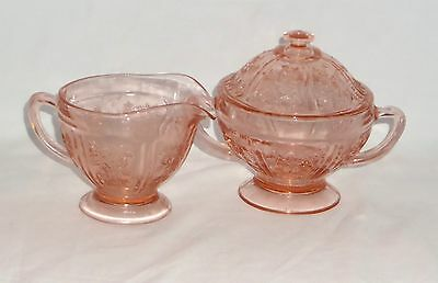 Federal SHARON/CABBAGE ROSE PINK *CREAMER & SUGAR w/LID*