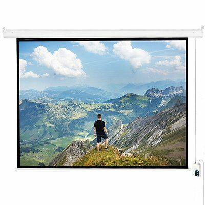 "120"" 4:3 Matte White Projector Screen, Electric Motorized Remote Control Screen"