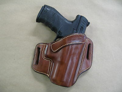Walther PPQ M2 45 OWB Leather 2 Slot Molded Pancake Belt Holster CCW TAN RH