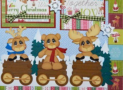 Woodland Winter - 2 premade Scrapbook pages layout paper piecing for album