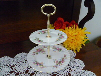 Royal Albert Moss Rose   2 Tier Cake Stand  Made In England