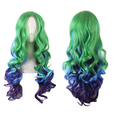 Sexy Ombre Central Parting Long Curly Natural Full Wig Women Cosplay Wig Styling